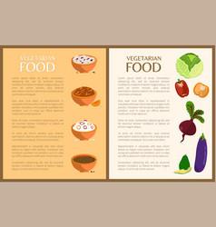 Vegetarian food posters set vector