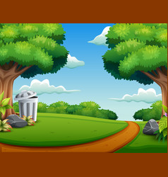 view of the road in a beautiful park vector image