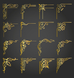 Vintage gold design elements corners and borders vector