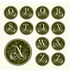Vintage set capital letters floral Monograms vector image