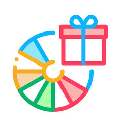 wheel fortune gift icon outline vector image