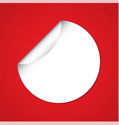 white blank circle sticker on red background vector image
