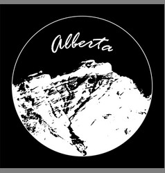 White miss cascade mountain with alberta text vector