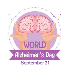 world alzheimers day logo or banner with brain vector image