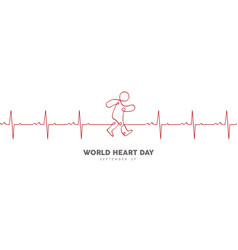 World heart day heartbeat banner for health care vector