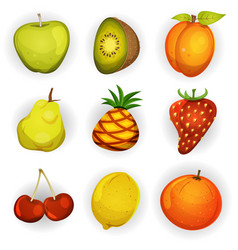 Cartoon fruit icons set vector