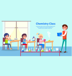 Cheerful atmosphere in chemistry class poster vector