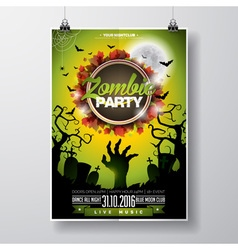 Halloween Zombie Party Flyer Design with moon vector image