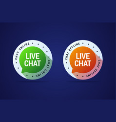 live chat button for websites and application for vector image vector image