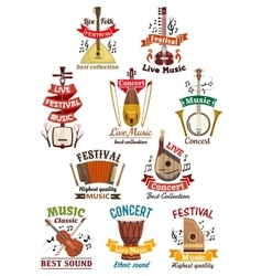 Musical instruments icons and emblems vector