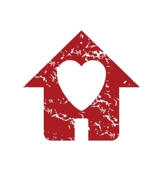 Red grunge love house logo vector image