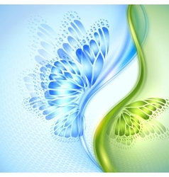 Abstract wave blue green background with butterfly vector image