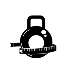 Contour dumbbell with measuring to healthy vector