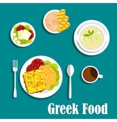 Greek dishes of mediterranean cuisine vector image vector image