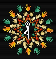 Human hand design with silhouette doing yoga vector image vector image