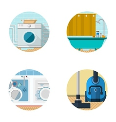 Flat icons collection for housekeeping vector image