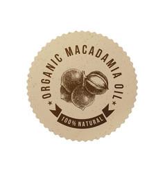 organic macadamia oil emblem vector image