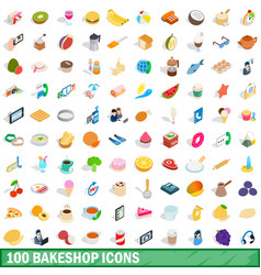 100 bakeshop icons set isometric 3d style vector image