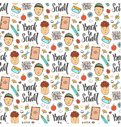 back to school doodle seamless pattern with funny vector image