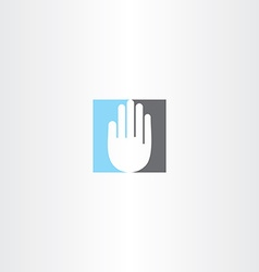 blue black human hand icon logo vector image