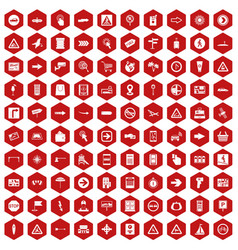 100 pointers icons hexagon red vector