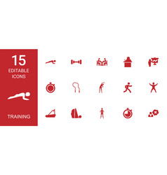 15 training icons vector image