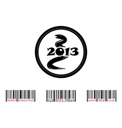 2013 year of snake with bar-code vector image