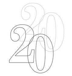 2020 outline vector image