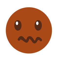 Angry emoticon face kawaii style vector
