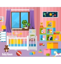 Baby Room Flat Colorful Composition vector