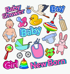 Baby shower doodle with newborn toys vector