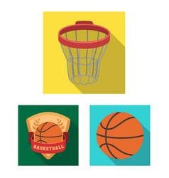 Basketball and attributes flat icons in set vector