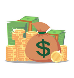 big stacked pile of cash and some gold coins vector image