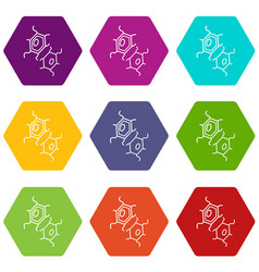 bird flu virus icons set 9 vector image