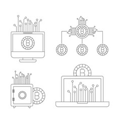 bitcoin monochrome icons of investment with vector image