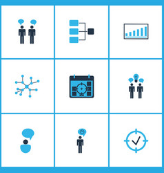 board icons colored set with idea discussions vector image