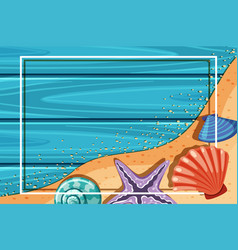 Border template with starfish and seashells vector
