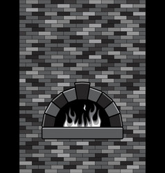 Brick oven with burning fire vector