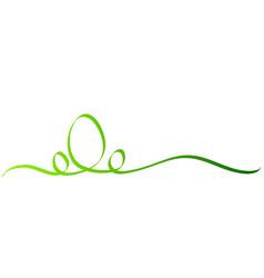 Calligraphy green easter egg ribbon on white vector