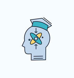Capability head human knowledge skill flat icon vector