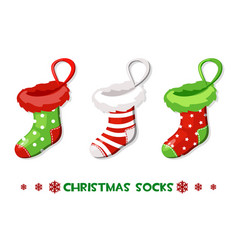 cartoon christmas socks new year symbols vector image