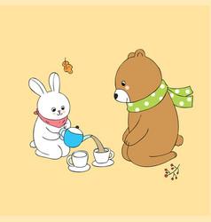 Cartoon cute autumn rabbit and bear vector