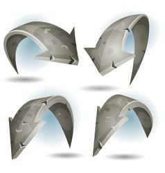 Cartoon stone arrows signs set vector