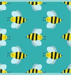cartoon sweet yellow bee summer worker bug hand vector image