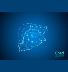chad map with nodes linked by lines concept of vector image