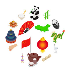 china isometric 3d icons vector image