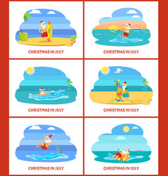 Christmas holiday in summer santa claus on beach vector