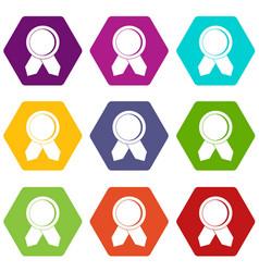 circle badge wih ribbons icon set color hexahedron vector image