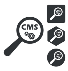 CMS search icon set monochrome vector