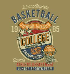 College basketball championship junior league vector